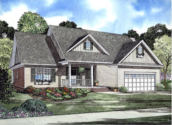 One-Story, Traditional House Plan 61320 with 3 Beds, 2 Baths, 2 Car Garage Elevation