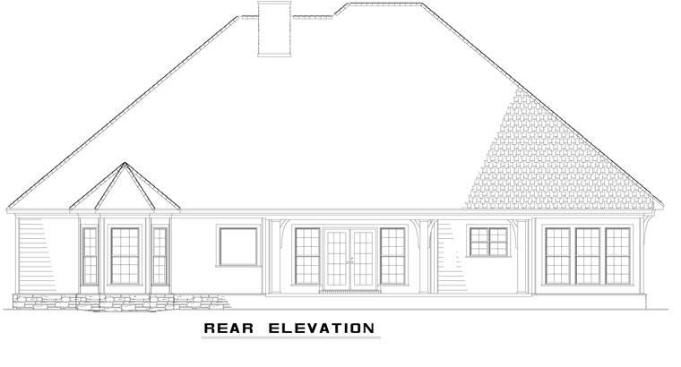 Craftsman European Tudor House Plan 61321 Rear Elevation