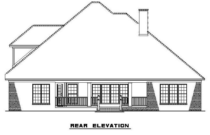 Rear Elevation of Traditional   House Plan 61322