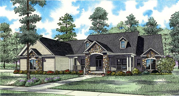 Elevation of Traditional   House Plan 61323