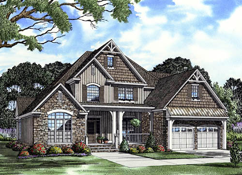 craftsman european house plan 61333 elevation - European House Plans