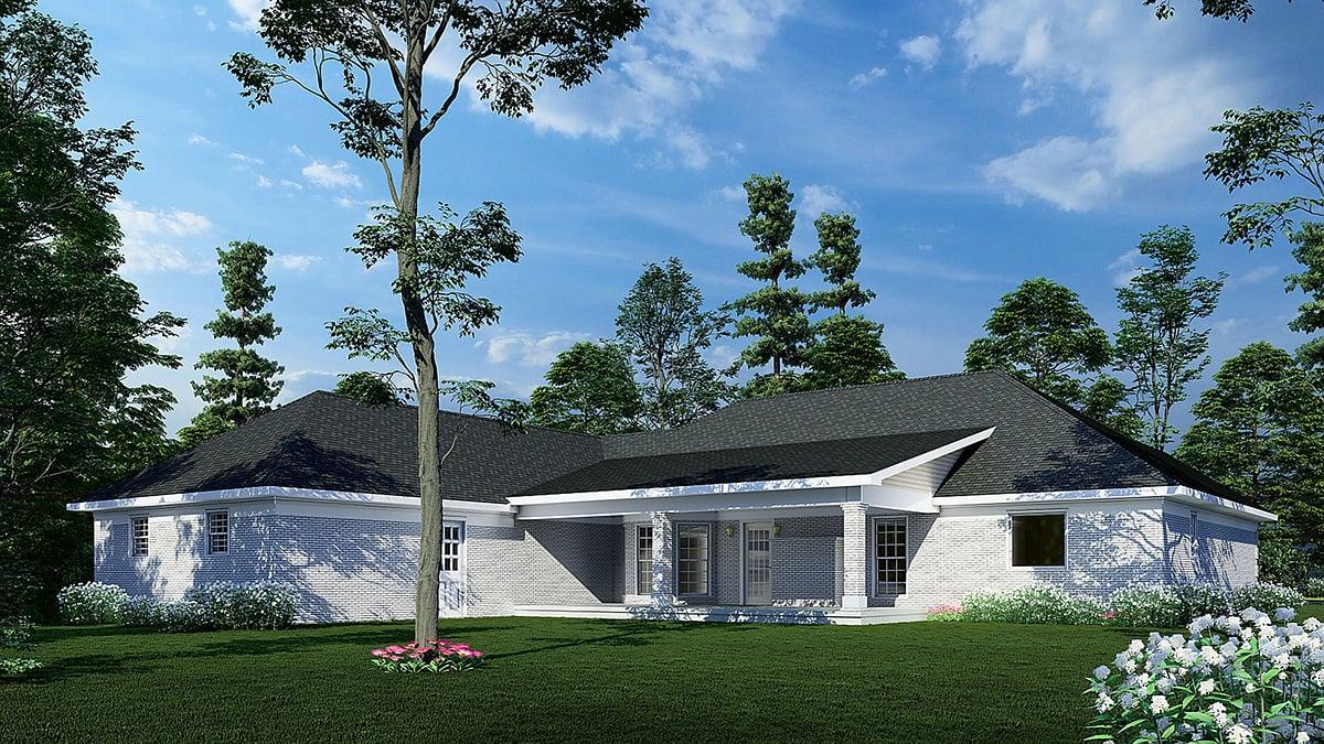 European Traditional House Plan 61351 Rear Elevation
