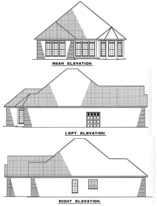 Bungalow Craftsman European House Plan 61353 Rear Elevation