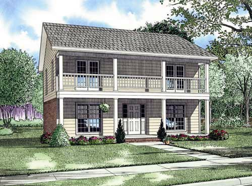 Southern Traditional Multi-Family Plan 61370 Elevation