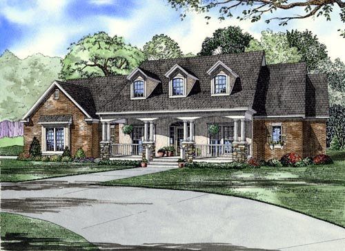 Country, Southern House Plan 61377 with 4 Beds, 3 Baths, 2 Car Garage Elevation