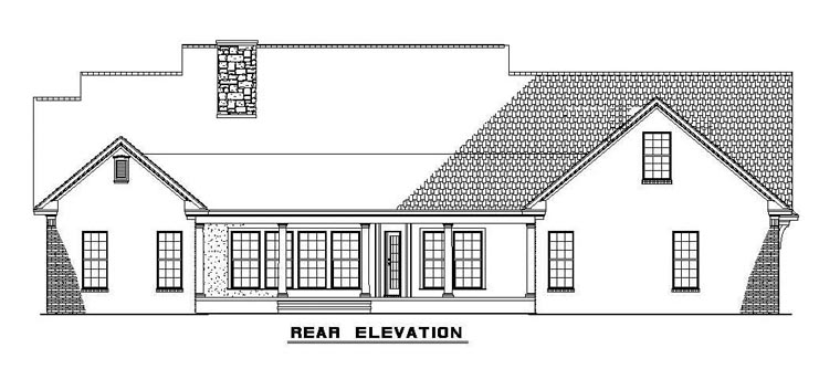 Country, Southern House Plan 61377 with 4 Beds, 3 Baths, 2 Car Garage Rear Elevation
