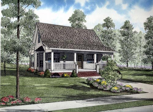 Cape Cod, Cottage, Country House Plan 61388 with 2 Beds, 1 Baths Elevation