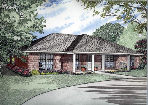 One-Story House Plan 61391 with 3 Beds, 2 Baths, 2 Car Garage Elevation