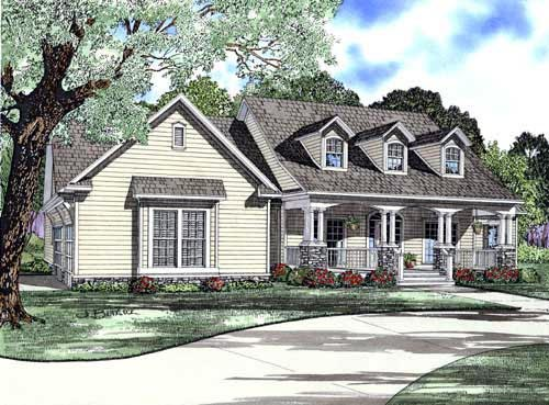 cape cod country craftsman house plan 61393 elevation - Cape Cod Craftsman