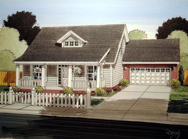 Cape Cod Country Southern House Plan 61402 Elevation