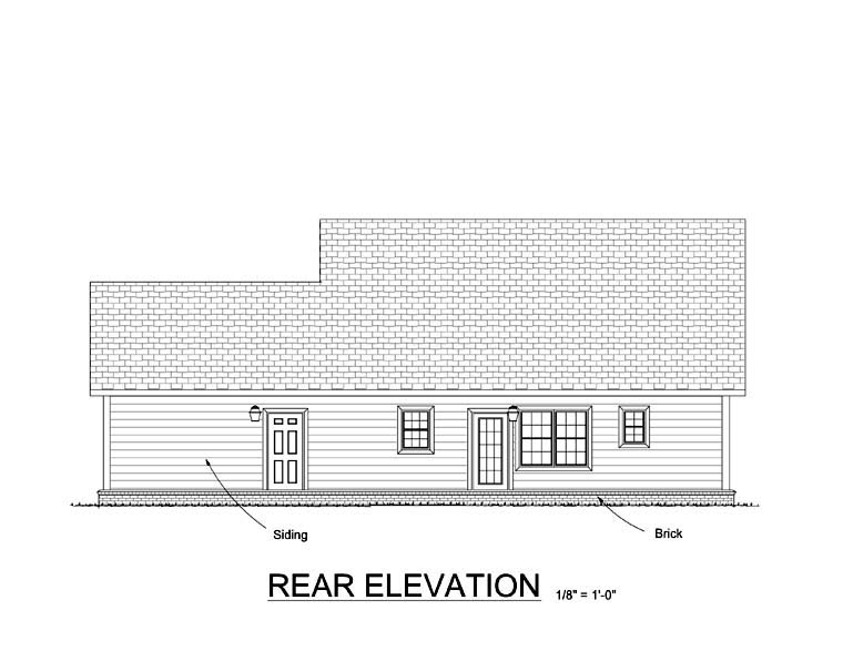 Cape Cod Country Southern House Plan 61402 Rear Elevation