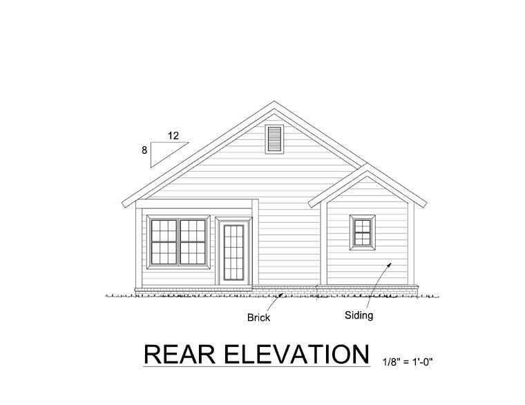 Cottage Traditional House Plan 61404 Rear Elevation