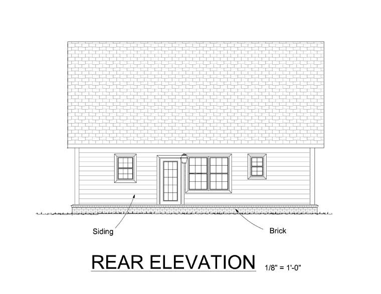 Cabin Cape Cod Southern House Plan 61405 Rear Elevation