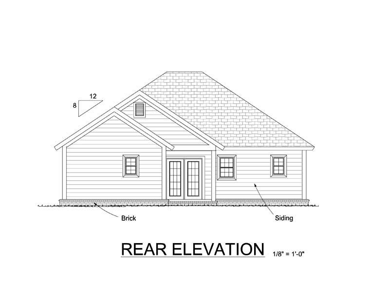 Traditional House Plan 61408 Rear Elevation