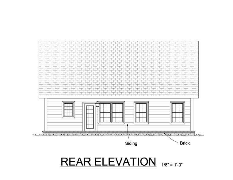 Craftsman Traditional House Plan 61409 Rear Elevation