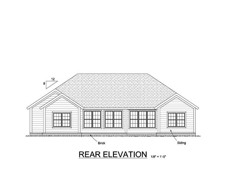 Traditional House Plan 61418 Rear Elevation