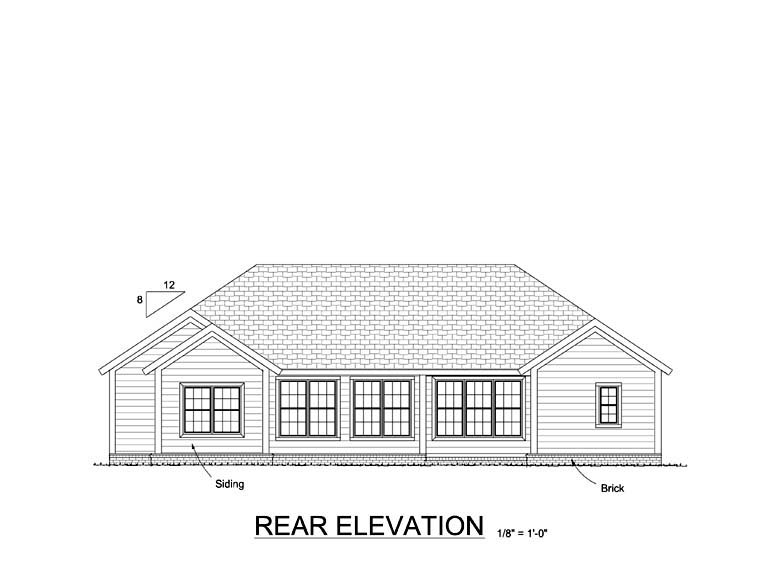 Traditional House Plan 61419 Rear Elevation