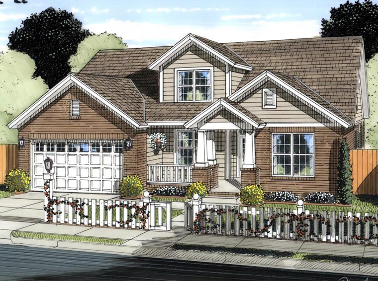 Craftsman, Traditional House Plan 61421 with 5 Beds, 4 Baths, 2 Car Garage Elevation