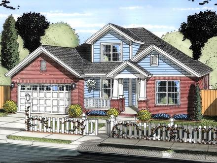 Cottage, Traditional House Plan 61422 with 4 Beds, 3 Baths, 2 Car Garage