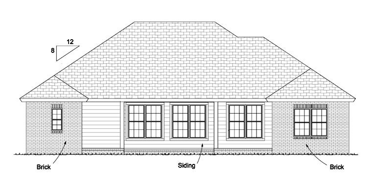 Traditional House Plan 61423 Rear Elevation