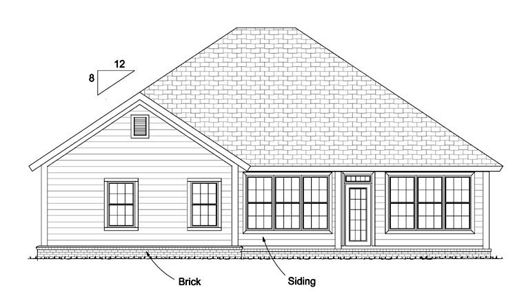 Traditional House Plan 61424 Rear Elevation
