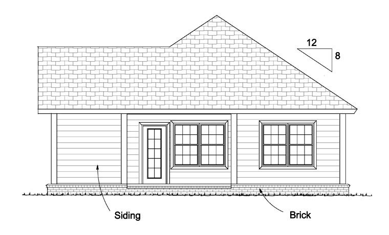 Rear Elevation of Traditional   House Plan 61429
