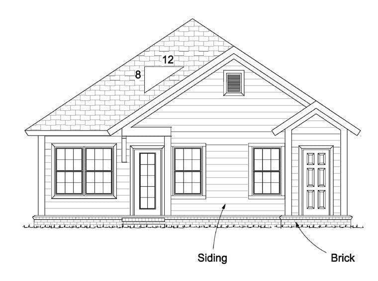 Cottage Craftsman Traditional House Plan 61437 Rear Elevation