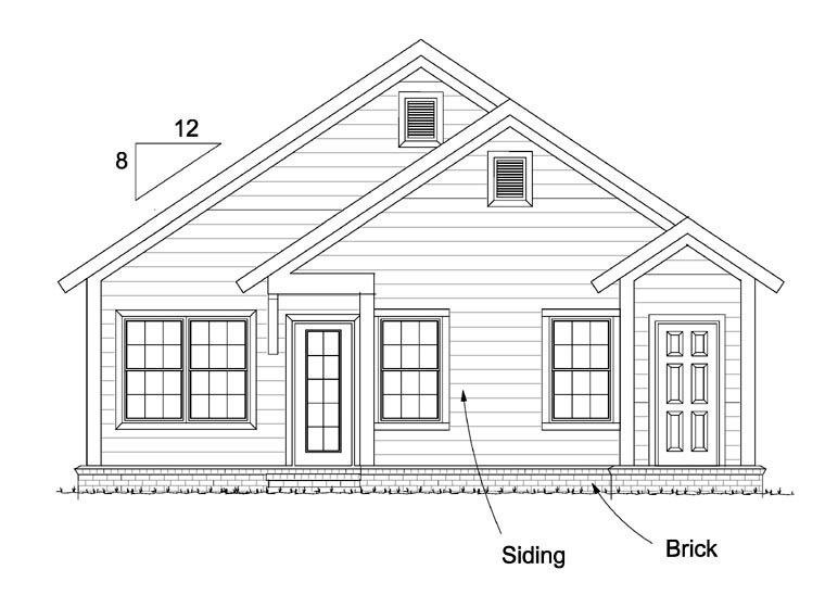 Cottage Country Southern Traditional House Plan 61439 Rear Elevation