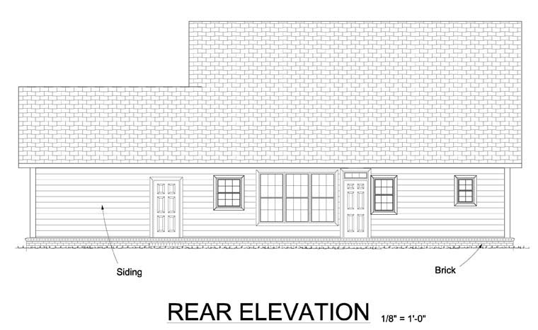 Cape Cod Country Southern House Plan 61442 Rear Elevation