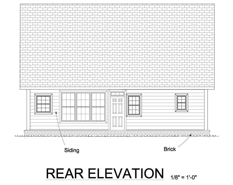 Cape Cod Country Southern Traditional House Plan 61443 Rear Elevation
