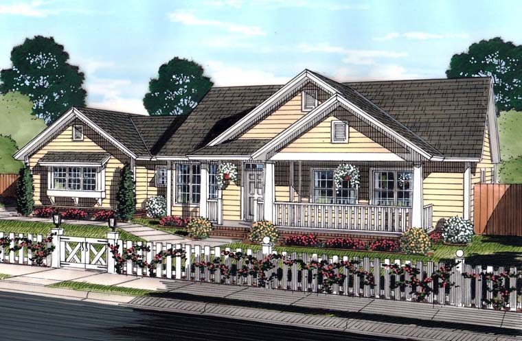 Traditional Style House Plan Number 61444 With 4 Bed 3 Bath 3 Car Garage