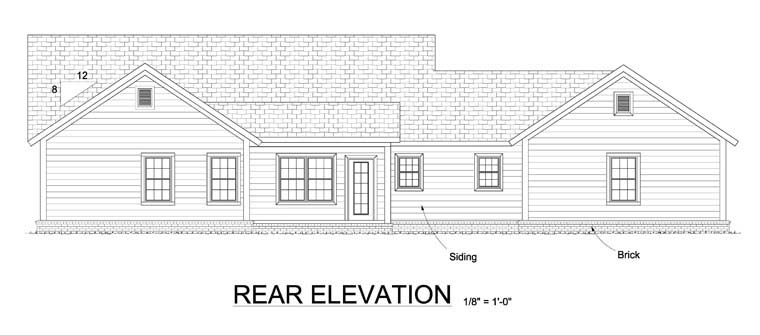 Ranch Traditional House Plan 61444 Rear Elevation