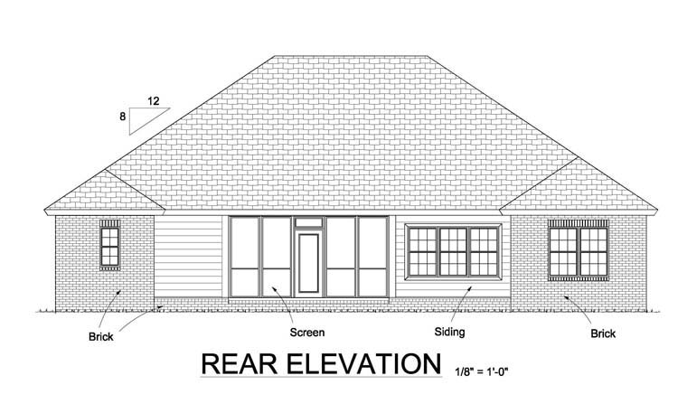 Bungalow Traditional House Plan 61445 Rear Elevation