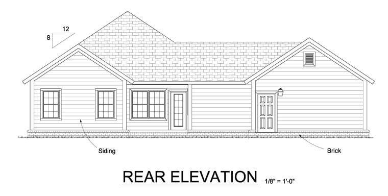 Traditional House Plan 61447 Rear Elevation