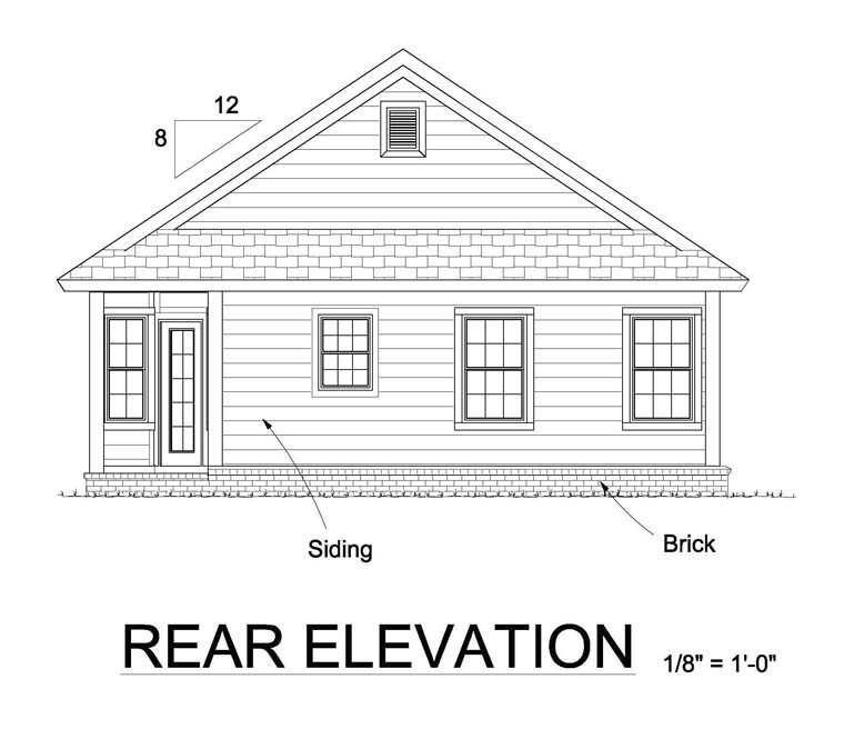 Cottage Traditional House Plan 61448 Rear Elevation
