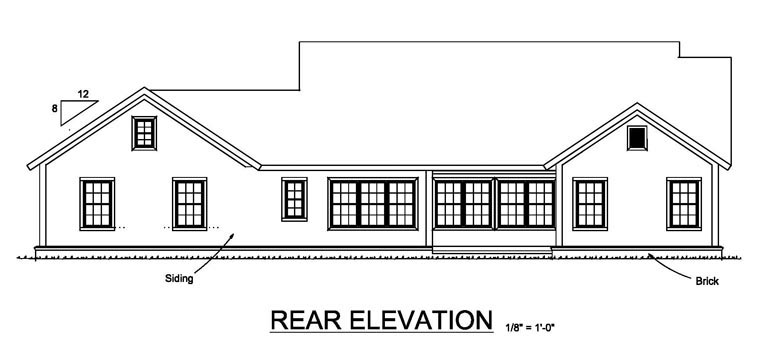 Cottage Craftsman Traditional House Plan 61456 Rear Elevation