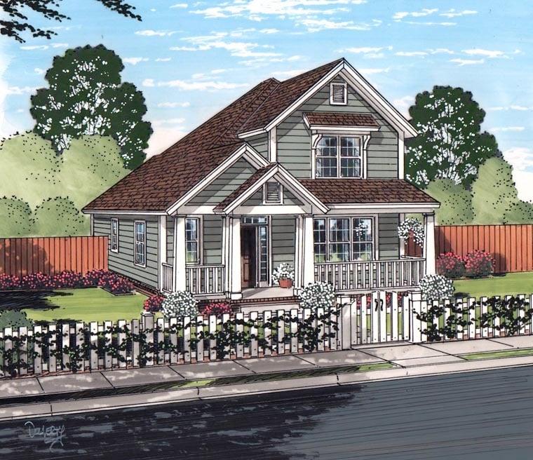 Cottage Craftsman Traditional House Plan 61465 Elevation