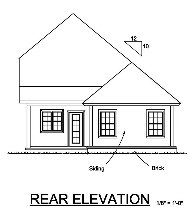 Cottage Craftsman Traditional House Plan 61465 Rear Elevation
