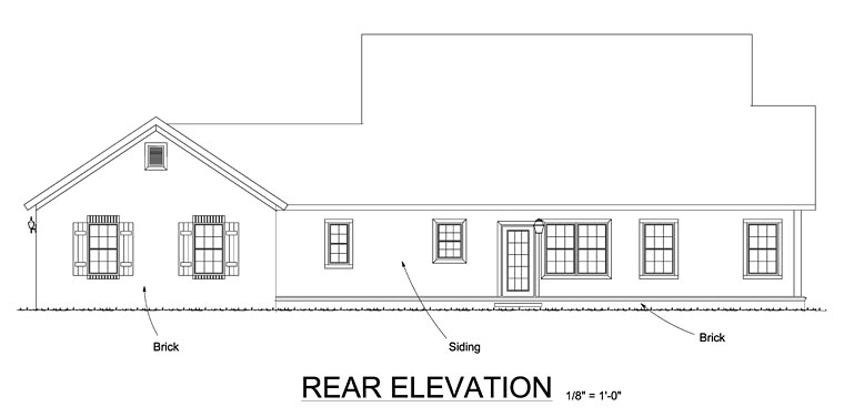 Cape Cod Country Traditional House Plan 61469 Rear Elevation