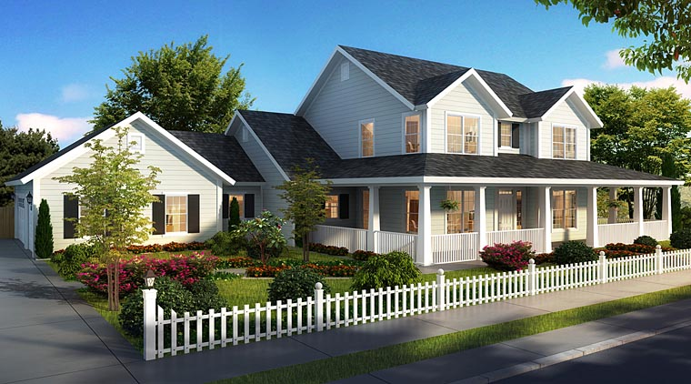 Cape Cod Country Farmhouse Southern House Plan 61470 Elevation