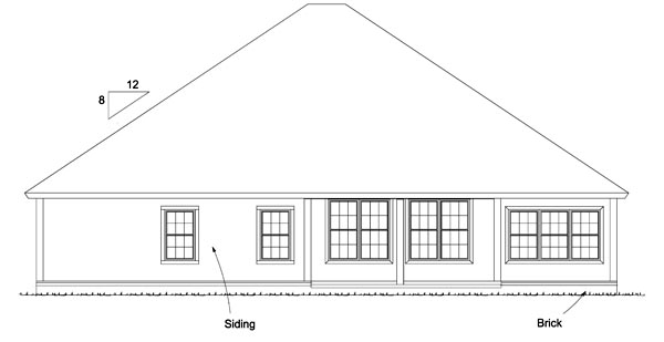 Bungalow Cottage Country Traditional House Plan 61473 Rear Elevation