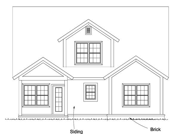 Cape Cod Cottage Country Traditional House Plan 61474 Rear Elevation