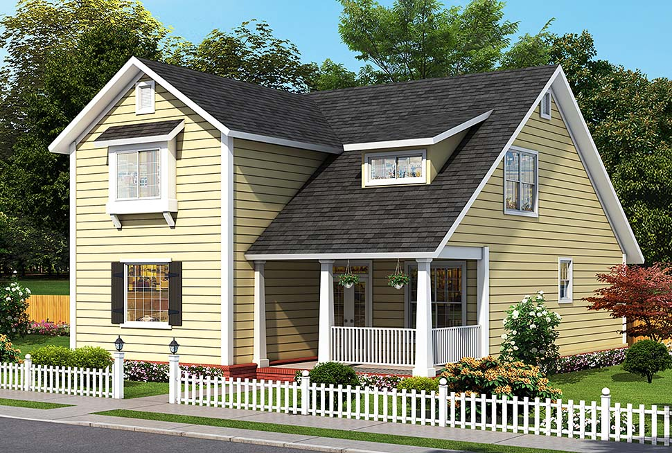 Cottage, Traditional House Plan 61492 with 4 Beds, 5 Baths Elevation