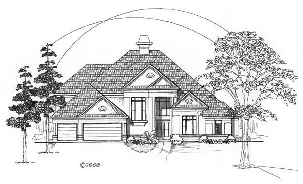 European House Plan 61501 Elevation