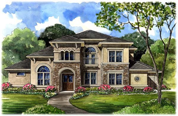 House plan 61749 at for Mediterranean elevation