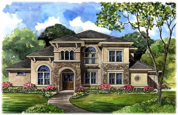 Italian, Mediterranean, Tuscan House Plan 61749 with 5 Beds, 6 Baths, 3 Car Garage Elevation