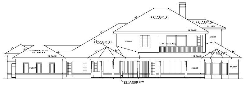 European House Plan 61818 Rear Elevation