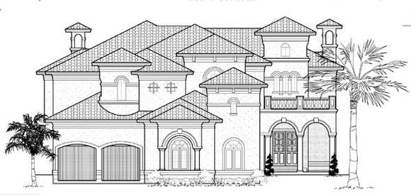 Mediterranean House Plan 61886 with 4 Beds, 6 Baths, 4 Car Garage Elevation