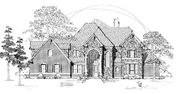 Tudor House Plan 61892 with 3 Beds, 4 Baths, 2 Car Garage Elevation