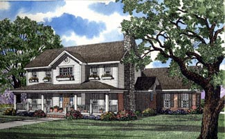 Colonial Country House Plan 62002 Elevation
